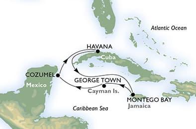 Маршрут круиза по Кубе